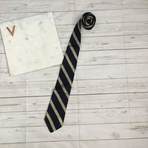 brooks brothers mens neck tie navy striped gold di